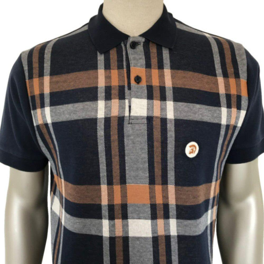 Trojan Records Retro Bold Check Polo Shirt Navy