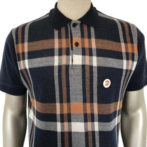 Trojan Records Retro Bold Check Polo Shirt Navy Thumbnail 1