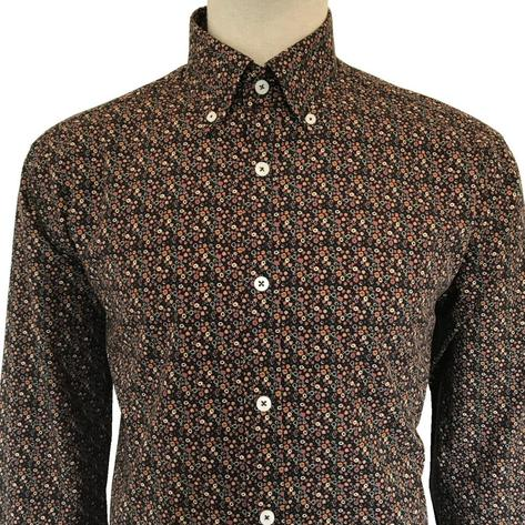 Ska & Soul Retro Floral Print Long Sleeve Shirt Brown Thumbnail 1