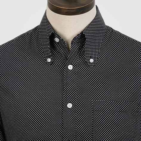 Art Gallery Cotton Beagle Collar Polka Dot Shirt Black