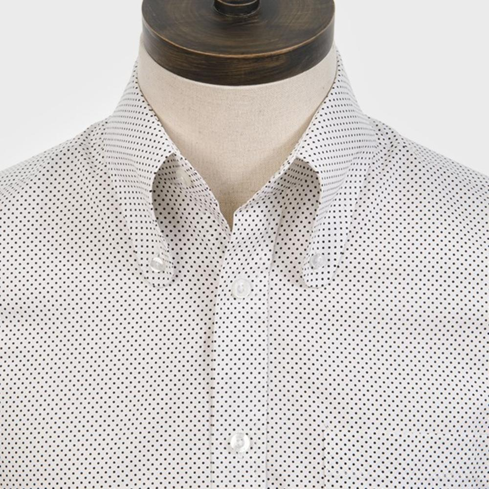 Art Gallery Cotton Beagle Collar Polka Dot Shirt White