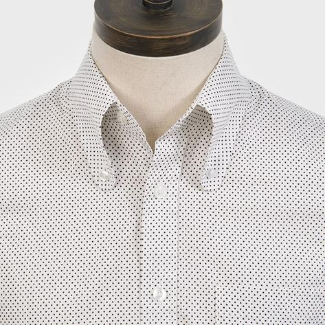 Art Gallery Cotton Beagle Collar Polka Dot Shirt White Thumbnail 1