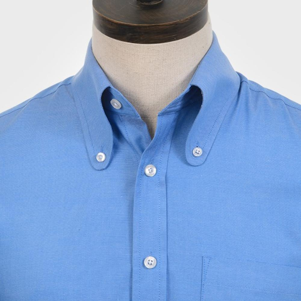 Art Gallery Cotton Beagle Collar Plain Shirt Blue