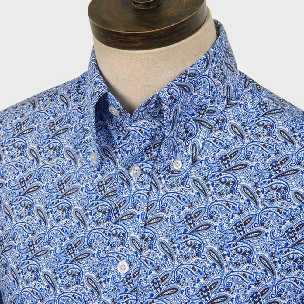 Art Gallery Cotton Shirt Beagle Collar Paisley Blue