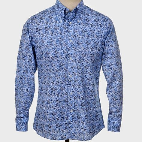 Art Gallery Cotton Shirt Beagle Collar Paisley Blue Thumbnail 2