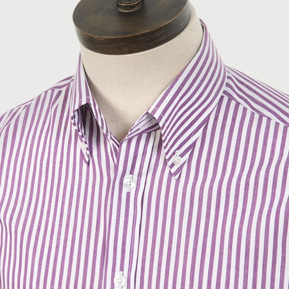 Art Gallery Cotton Shirt Button Down Collar Stripe Burgundy