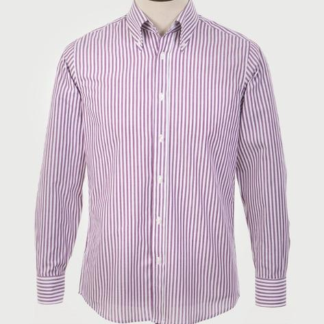 Art Gallery Cotton Shirt Button Down Collar Stripe Burgundy Thumbnail 2