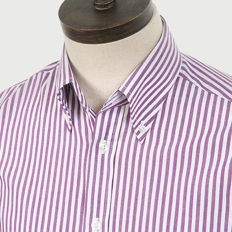 Art Gallery Cotton Shirt Button Down Collar Stripe Burgundy Thumbnail 1