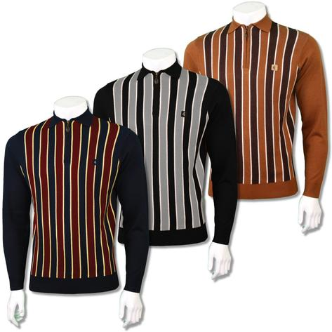 Gabicci Vintage Mens Retro Vertical Stripe Zip Collar Polo