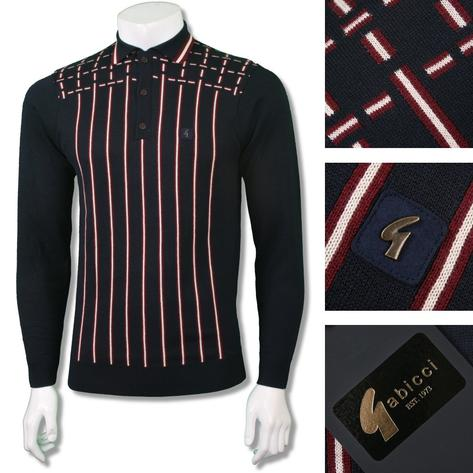 Gabicci Vintage Mens Retro Cross Stripe Knit Polo Shirt Thumbnail 2