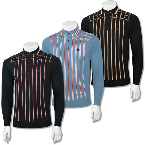 Gabicci Vintage Mens Retro Cross Stripe Knit Polo Shirt Thumbnail 1