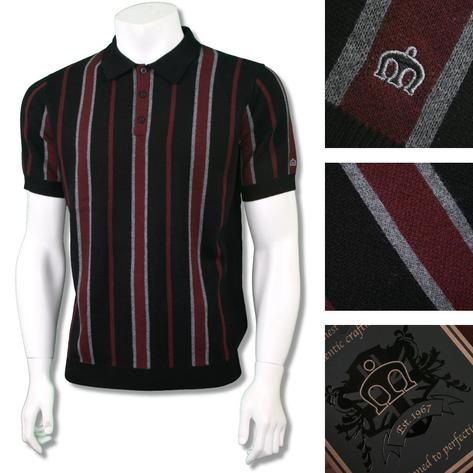 Merc London Stripe Knitted Polo Shirt Black Thumbnail 1