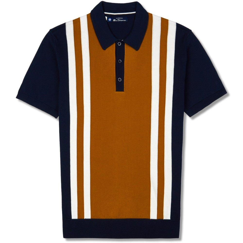 Ben Sherman Retro Knit Mod Stripe Polo Shirt Navy
