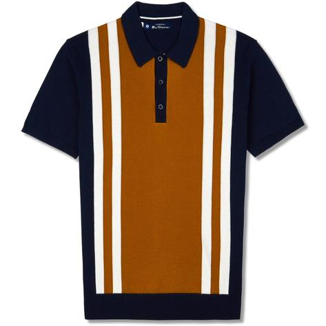 Ben Sherman Retro Knit Mod Stripe Polo Shirt Navy Thumbnail 1