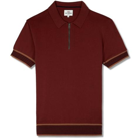 Ben Sherman Zip Neck Knit Polo Shirt Chestnut Brown