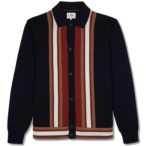 Ben Sherman Retro Knit Stripe Long Sleeve Cardigan Navy
