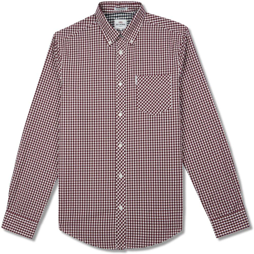 Ben Sherman Mens Classic Gingham Check Shirt Burgundy