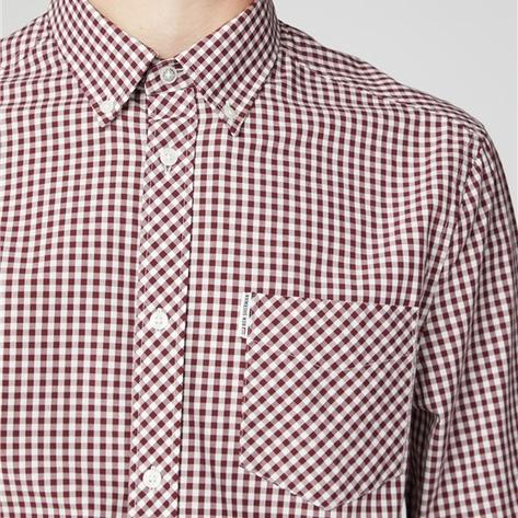 Ben Sherman Mens Classic Gingham Check Shirt Burgundy Thumbnail 2