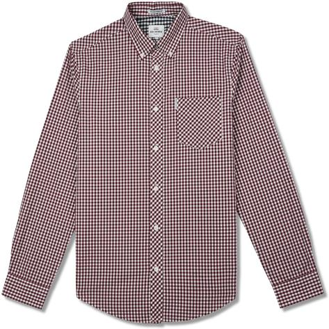 Ben Sherman Mens Classic Gingham Check Shirt Burgundy Thumbnail 1