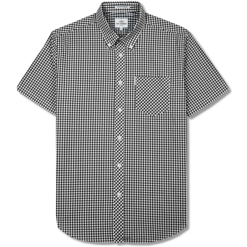 Ben Sherman Mens Short Sleeve Gingham Check Shirt Black