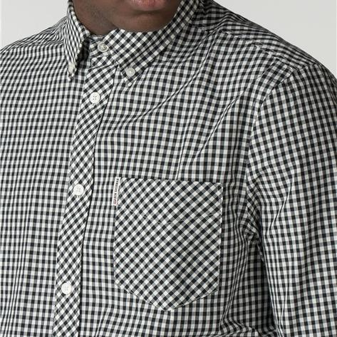 Ben Sherman Mens Short Sleeve Gingham Check Shirt Black Thumbnail 2