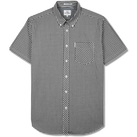 Ben Sherman Mens Short Sleeve Gingham Check Shirt Black Thumbnail 1
