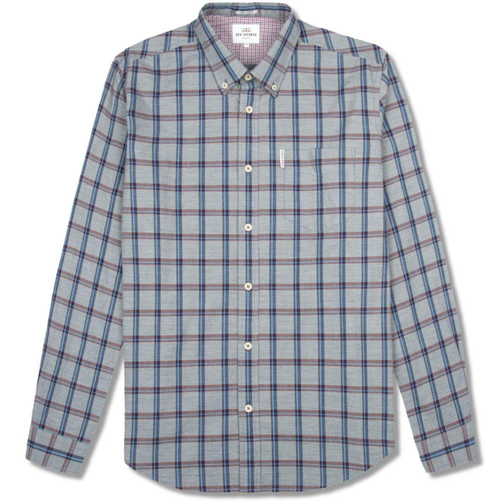 Ben Sherman Slub Stripe Check Shirt Navy Blue
