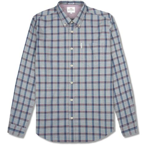 Ben Sherman Slub Stripe Check Shirt Navy Blue Thumbnail 1