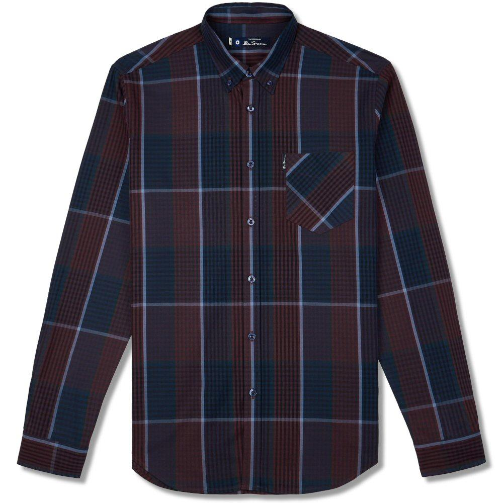 Ben Sherman Large Overcheck Gingham Shirt Navy and Wine