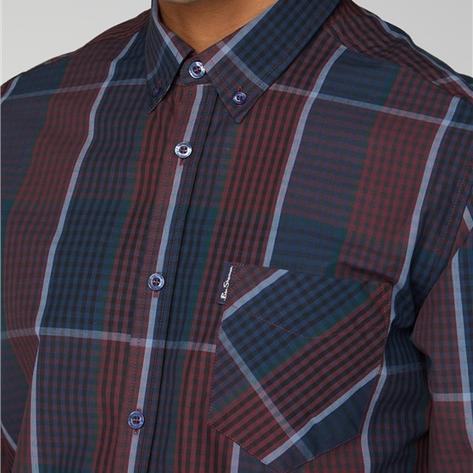 Ben Sherman Large Overcheck Gingham Shirt Navy and Wine Thumbnail 2