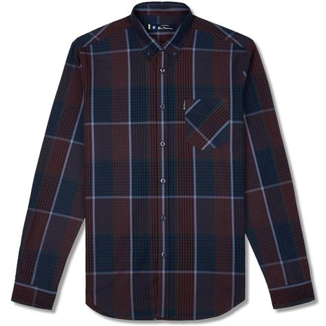 Ben Sherman Large Overcheck Gingham Shirt Navy and Wine Thumbnail 1