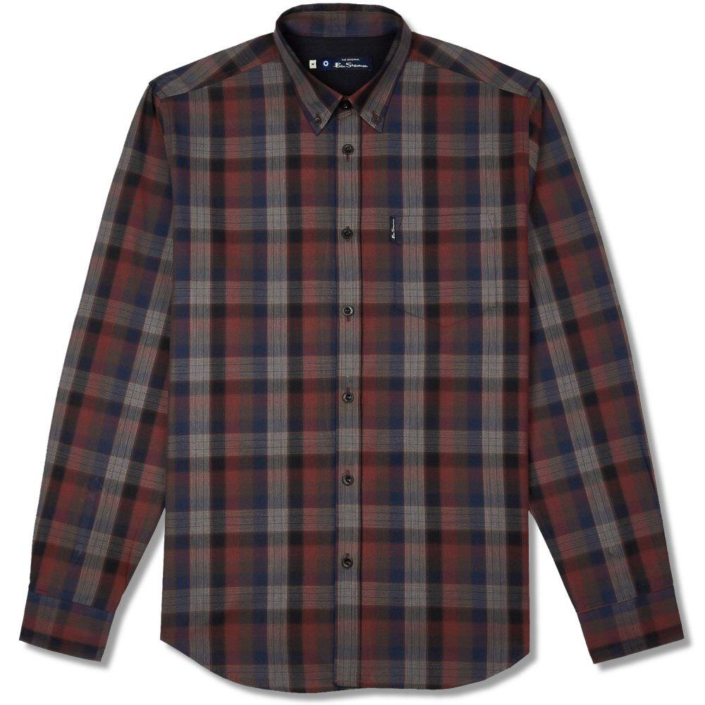 Ben Sherman Blocked Fine Check Shirt Wine