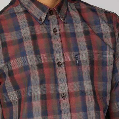 Ben Sherman Blocked Fine Check Shirt Wine Thumbnail 2