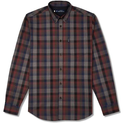 Ben Sherman Blocked Fine Check Shirt Wine Thumbnail 1