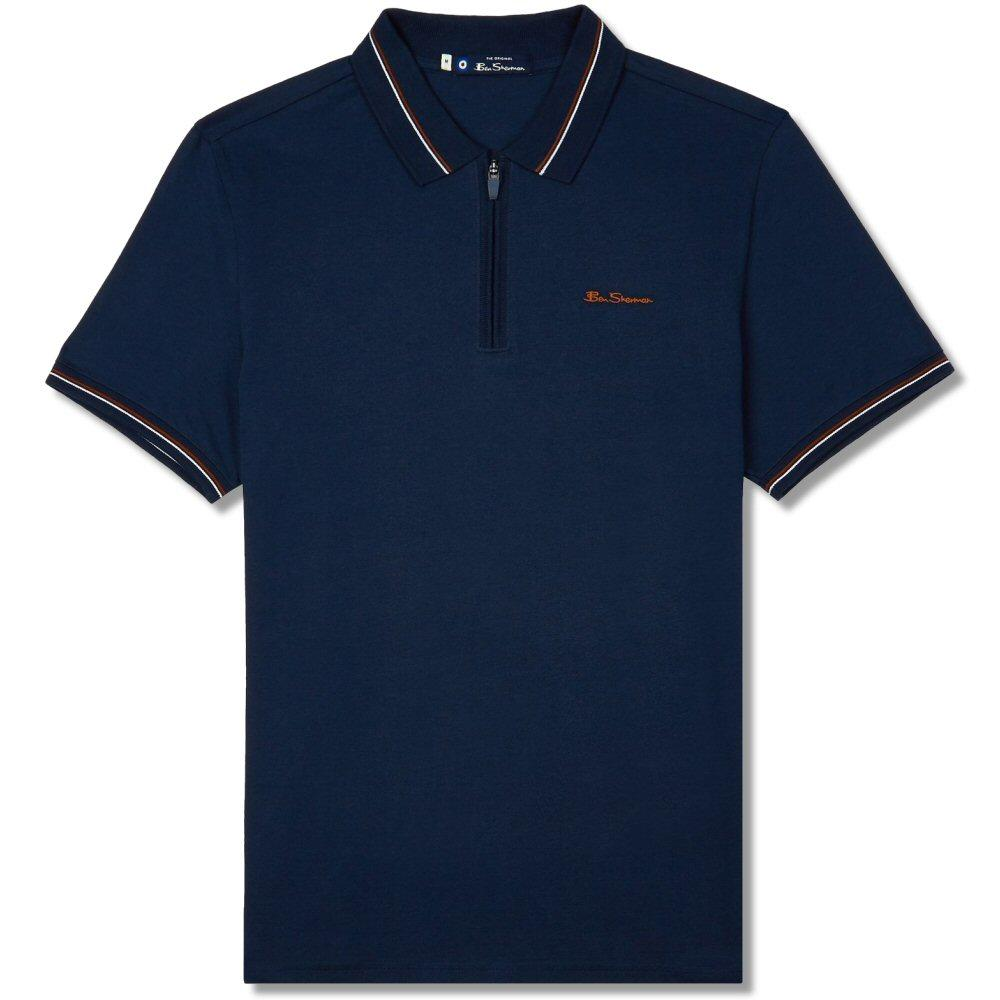 Ben Sherman Zip Neck Jersey Polo Shirt Navy