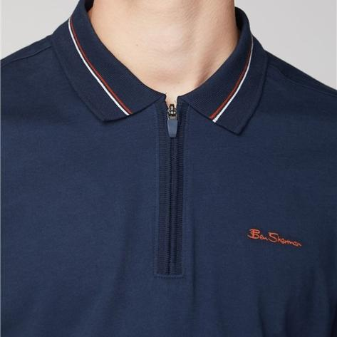 Ben Sherman Zip Neck Jersey Polo Shirt Navy Thumbnail 2
