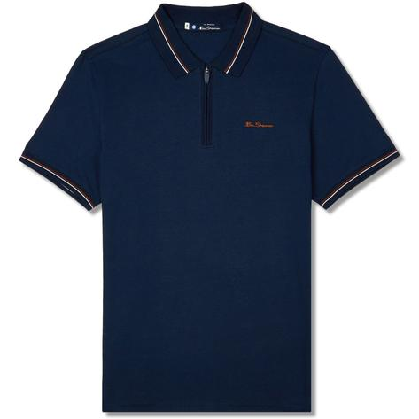 Ben Sherman Zip Neck Jersey Polo Shirt Navy Thumbnail 1