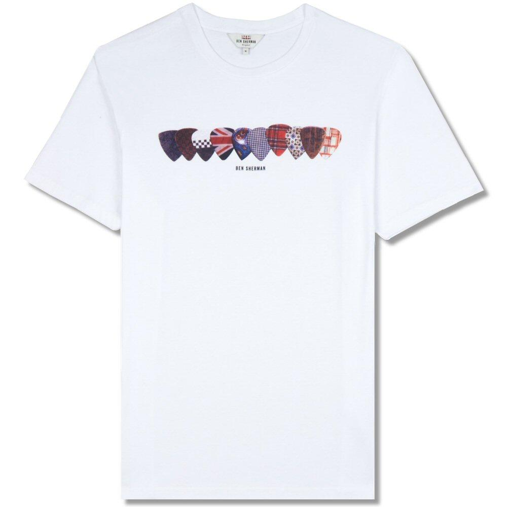 Ben Sherman Crew Neck Plectrum Print T-Shirt White