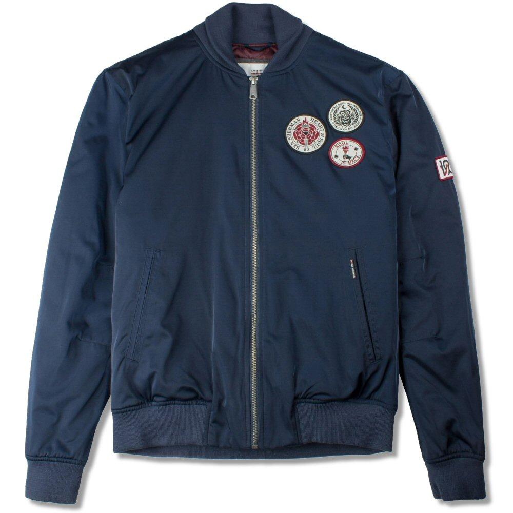 Ben Sherman Soul Badge Sateen Bomber Jacket Navy