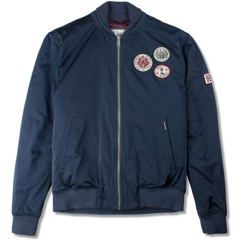Ben Sherman Soul Badge Sateen Bomber Jacket Navy Thumbnail 1