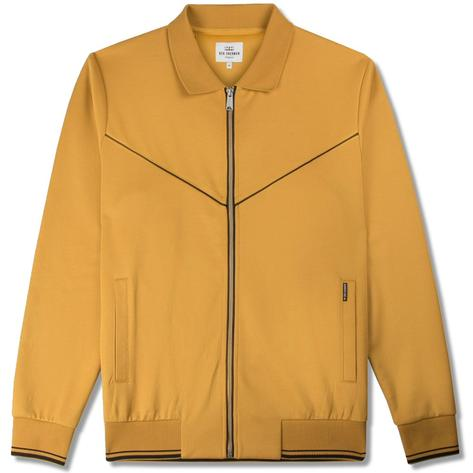 Ben Sherman Zip Through Tricot Stripe Track Top Yellow Thumbnail 1