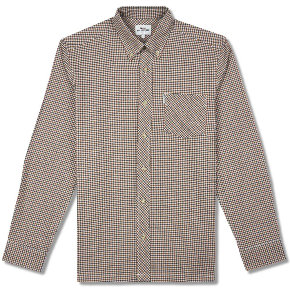 Ben Sherman Long Sleeve Gingham Check Shirt Tan