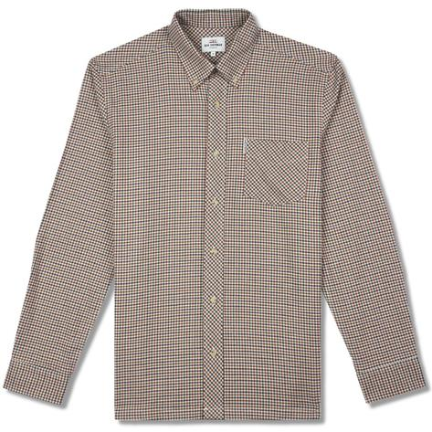 Ben Sherman Long Sleeve Gingham Check Shirt Tan Thumbnail 1