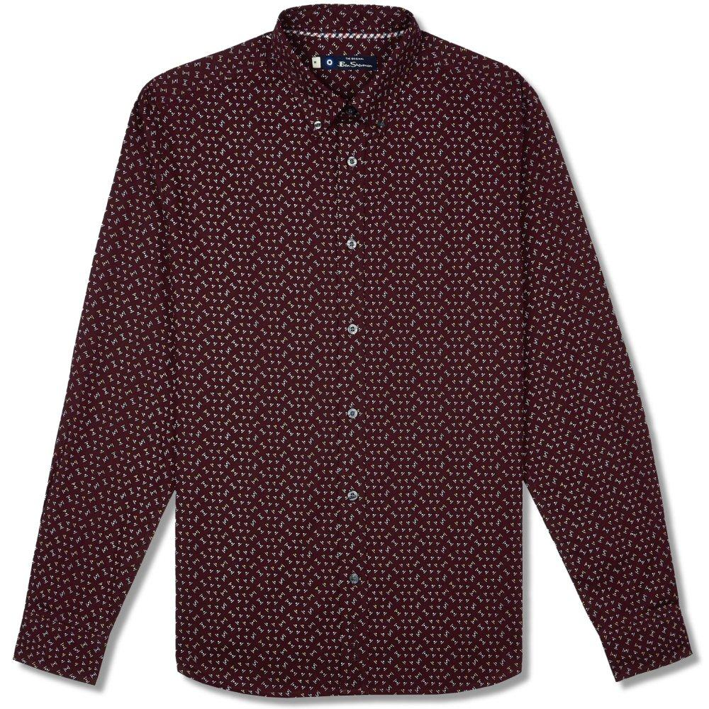 Ben Sherman Long Sleeve Micro Print Shirt Wine