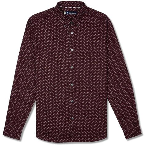 Ben Sherman Long Sleeve Micro Print Shirt Wine Thumbnail 1