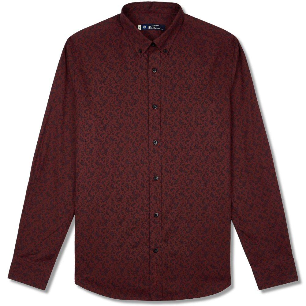 Ben Sherman Long Sleeve Paisley Print Shirt Wine