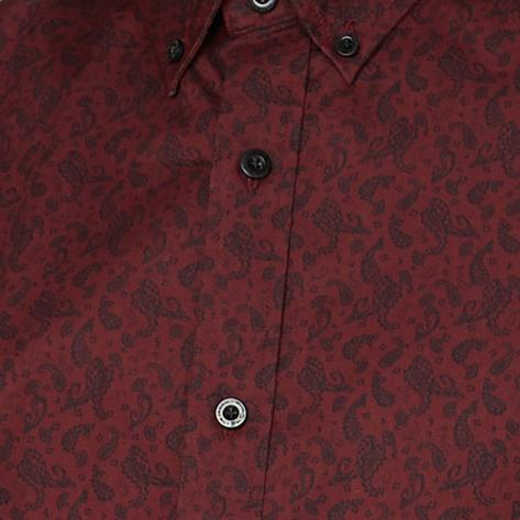 Ben Sherman Long Sleeve Paisley Print Shirt Wine Thumbnail 2