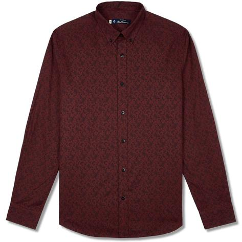 Ben Sherman Long Sleeve Paisley Print Shirt Wine Thumbnail 1