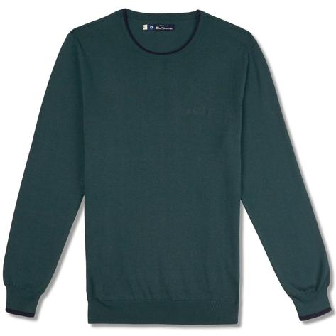 Ben Sherman Tipped Crew Neck Knit Jumper Green