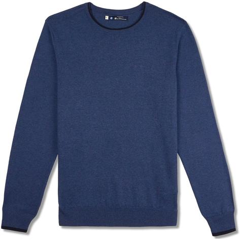 Ben Sherman Tipped Crew Neck Knit Jumper Blue